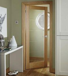 Kitchen to hall door. Linear Oak Glazed