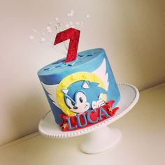 Super Sonic Birthday Cake - chocolate cake with Oreo buttercream frosting & chocolate ganache Sonic Birthday Cake, Sonic Cake, Sonic Birthday Parties, 7th Birthday Cakes, Sonic Party, Birthday Ideas, One Layer Cakes, Single Layer Cakes, Shimmer And Shine Cake