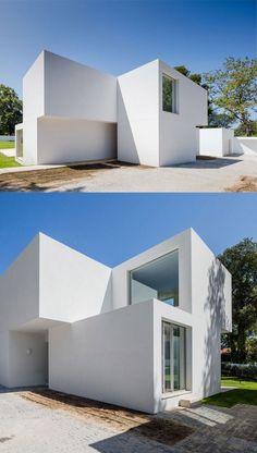 front yard, white facade