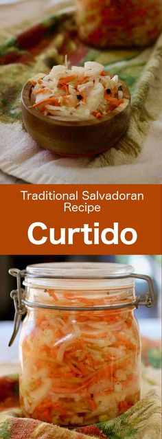 El Salvador: Curtido Curtido is a Salvadorian condiment made from cabbage and carrots, pickled in vinegar with spices, which is often served with pupusas. Cabbage Recipes, Mexican Food Recipes, Ethnic Recipes, Popusas Recipe, Condiment Recipe, El Salvador Food, Gourmet, Recipes, Meals