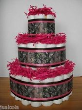 GIRL HOT PINK CAMO HUNTING DIAPER CAKE BABY SHOWER CENTERPIECE DECORATION NEW