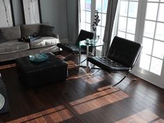 walnut engineered floor. dark wood floor with grey black and white accents