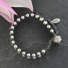 Stunning Hultquist Macrame Silver Large Double Bead Bracelet On Grey Cord With Swarovski Crystals £35.