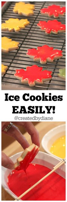 Ice Cookies EASILY /createdbydiane/ (sugar cookie icing without corn syrup) Galletas Cookies, Iced Cookies, No Bake Cookies, Cookie Desserts, Yummy Cookies, Cookies Et Biscuits, Holiday Cookies, Sugar Cookies, Cookie Recipes