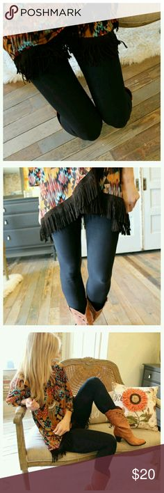 💛2 LEFT!💛Ultra soft black leggings! Super soft brushed knit black leggings! Sold out from vendor! You won't want to take them off!!  These leggings look adorable with the southwest aztec tunic (as pictured), the burgundy asymmetrical tunic, olive v fringe tunic, or the oversized tribal cardigan (see listings)!  92% polyester, 8% spandex. One size with great stretch (fits up to a size 12 comfortably).  PRICE IS FIRM UNLESS BUNDLED. Infinity Raine Pants Leggings