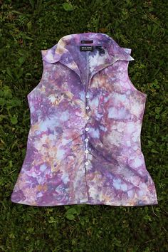 Upcycled Tie Dye  Women's button sleeveless by ASPOONFULOFCOLORS, $30.00