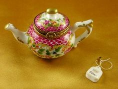 Rochard Teapot Flowers and Maroon Scales Limoges Box