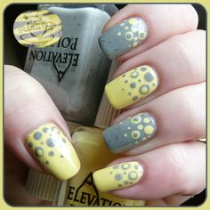 Nail of the Day: Yellow and Grey Dotticure with Elevation Polish | Pointless Cafe