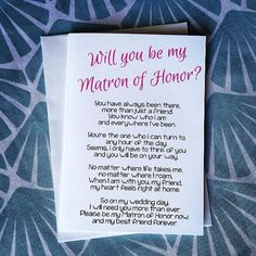 Will You Be My Matron of Honor Poem  Matron of by TeAmoCharlie