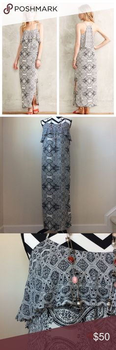 """HP{Anthro} Talitha Tiered Maxi Dress {Anthropologie} Tabitha Tiered Maxi Dress by Vanessa Virginia. Gorgeous and feminine. Black and white with a layer of ruffling with tiny silver beads, at the chest. T back with spaghetti straps. Side slit. Laying flat approx 52"""" long, approx 16"""" pit to pit. 100% polyester. Size 0. Excellent condition. #752 Anthropologie Dresses Maxi"""