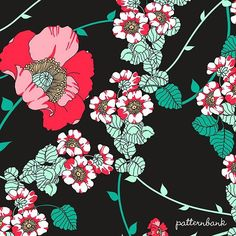 Vector illustrated poppy design with a retro feel - rambling layout mixed with white & pink small flowers and weaving vine elements. The included layered vector AI file makes changing colours easy! #textiledesigner #newonpatternbank #patterndesign IG: @twfashiongraphics