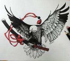 Katana, Owl Tattoo Design, Tattoo Designs, Bald Eagle Tattoos, Eagle Images, Eagle Drawing, Russian Tattoo, Japanese Tattoo Art, Oriental Tattoo