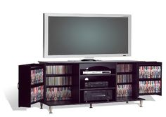 Prepac 60-Inch Plasma TV Console with Media Storage, Black (772398221632) Sleek TV console for 60-inch flat-panel plasma screens; with extensive storage space for DVDs, CDs, VHS, and other media Ready-to-assemble console constructed with composite MDF and Melamine laminate; black finish Adjustable component, cabinet, and door shelves for custom-sized storage compartments; sliding back access door and cable management holes With brushed metal cabinet handles and dowel legs; 150-pound weight ...