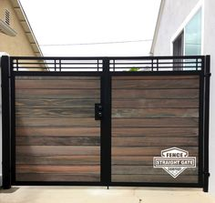 Fabricators and Installers of Steel Framed Wood and Vinyl Gates Since Steel Gate Design, Wood Fence Design, Front Gate Design, House Gate Design, Door Gate Design, House Front Gate, Front Gates, Gate Designs Modern, Stainless Steel Gate