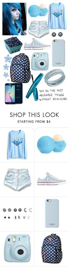 """""""Rainbow tag: Blue"""" by madelynnlove ❤ liked on Polyvore featuring Eos, Levi's, Converse, With Love From CA, Isaac Mizrahi, Fujifilm, Hurley, Swarovski and Samsung"""