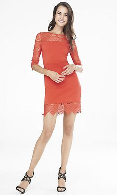 red lace and knit sheath dress