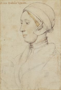 """Recto: Queen Anne Boleyn (c.1500-1536). Verso: A coat of arms of the Wyatt family, and other heraldic sketches, Hans Holbein the Younger, c. 1533-36. """"A portrait drawing of Queen Anne Boleyn (c.1500-1536), the second wife of Henry VIII and mother of Queen Elizabeth I. A bust length portrait in profile facing to the left. She wears a fur collar and linen cap. Inscribed in an eighteenth-century hand at upper left: Anna Bollein Queen."""""""