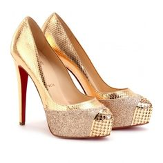 Christian Louboutin Maggie 140 Glitter And Snakeskin Platform Pumps