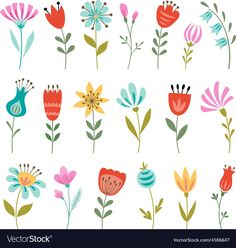 Set of colorful flowers isolated on white background. Download a Free Preview or High Quality Adobe Illustrator Ai, EPS, PDF and High Resolution JPEG versions. ID #4186647.