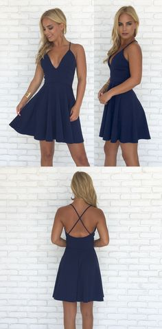 straps short navy blue homecoming dress, navy blue short chiffon homecoming dress, 2017 short homecoming dress party dress