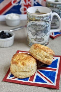 afternoon tea scones on a union jack napkin