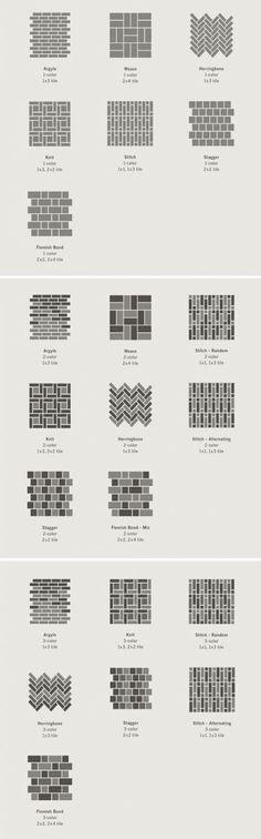 Great ideas for backsplash or bathroom floor design. Tapestry Collection - Heath Ceramics layout concepts Great ideas for backsplash or bathroom floor design. Bathroom Flooring, Kitchen Flooring, Ceramic Flooring, Brick Flooring, Eames Design, Design Web, House Design, Yard Design, Heath Ceramics