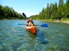 Kayaking down the Bonaventure River  In Bonaventure, Quebec, Canada