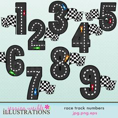 Race Track Numbers Cute Digital Clipart for Card Design, Scrapbooking, and Web Design. $5.00, via Etsy.