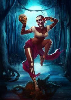 Voodoo Witch Picture  (2d, horror, voodoo, witch, fantasy, skull, moon, swamp)