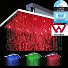 "12"" Luxury Bathroom Bath LED Rain Square Shower Head Rose Chrome Colorful Brass"