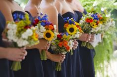 texas wildflower bridesmaids bouquets | Navy Wedding in June - The Knot
