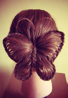 This would be great for crazy hair day at school! Learn how to create this incredibly cool butterfly hairstyle in just a few short steps. Butterfly Hairstyle, Butterfly Braid, Diy Butterfly, Butterfly Wedding, Pretty Hairstyles, Girl Hairstyles, Braided Hairstyles, Amazing Hairstyles, Braided Updo