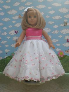 Hot Pink and white Party Dress for 18 inch Dolls by janinenetzel, $27.00