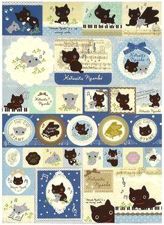 San-x Kutusita Nyanko Music Big Memo Pad w/ Stickers