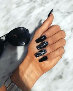 Acrylic nail designs, nail art designs, marble nail designs, black marble n Black Marble Nails, Marble Acrylic Nails, Best Acrylic Nails, Acrylic Nail Designs, Nail Art Designs, Nails Design, Black Chrome Nails, Gorgeous Nails, Pretty Nails
