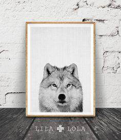Wolf Print, Woodlands Nursery Animal Wall Art, Printable Nursery Woodlands Wolf…