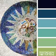 Color Palettes, Blue, Teal, Aqua, Green, Indigo, Gaudi, Spain, Barcelona, Tile. If you like our color inspiration sign up for our monthly trend letter - click the image for the link.