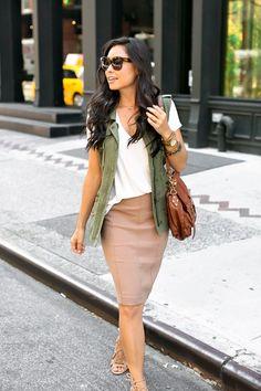 Camel Pencil Skirt - Halogen pencil skirt // Lush T-shirt Velvet vest  // Joie heels // Proenza Schouler bag Ashley Pittman bangles // Michael Kors watch Monday, September 26, 2016