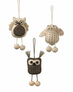 I wanted to buy these sooooo bad! But they're no longer available! :((( Felt Owl Ornaments, Set of 3