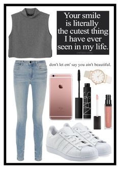 """#232 beauty"" by xjet1998x ❤ liked on Polyvore featuring moda, Monki, Alexander Wang, adidas Originals ve NARS Cosmetics"