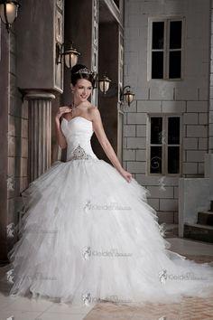 Weiß Empire Herz Ausschnitt Tüll Brautkleider Hochzeitkleider mit Perlen