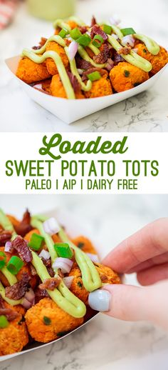 These loaded sweet potato tater tots are the ultimate healthier junk food! They're made with real food paleo ingredients, but taste like they're straight off of a food truck. #paleorecipe #recipesforkids #tatertots #summerrecipes