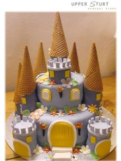 Ice cream cones as turrets on a Castle Cake..