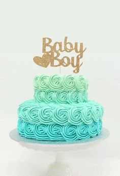 Baby Boy Cake Topper for Baby Shower, Gender Reveal Party, Birthday Party - Gold Glitter Cupcake and Cake Topper, Newborn Little One Baby Shower Cupcake Cake, Baby Shower Cakes For Boys, Bridal Shower Cakes, Baby Shower Themes, Shower Ideas, Babyshower Cake Boy, Baby Boy Cake Topper, Baby Boy Cakes, Cupcakes For Boys