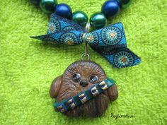 Kawaii Chewbacca necklace, polymer clay necklace, handmade necklace, kawaii necklace, star wars necklace, charm, jewelry, pearl necklace by CutieInspirations on Etsy