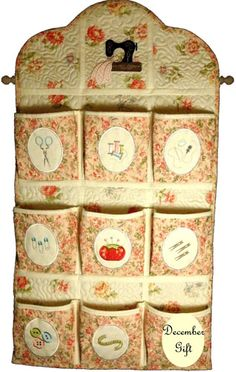 Machine embroidered and sewn Sew Organized organizer for your sewing room.