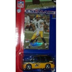Green Bay Packers 2005 1:64 Cadillac Escalade Diecast Collectible with B. Favre Fleer Card NFL Toy Car by Upper Deck  $18.09