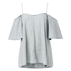 Linen Blend Cross Dye Frill Top. Comfortable style features thin straps with frill cold shoulder sleeves and swing body complete with ink blue binding. Available in Cross Dye as shown.