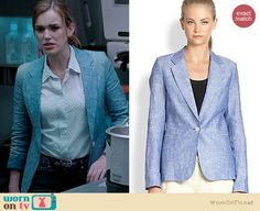 Jemma's white pin dot shirt and chambray blazer on Agents of SHIELD. Outfit Details: http://wornontv.net/19826 #AgentsofSHIELD #ABC