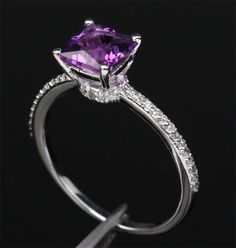 Princess Cut Dark Purple Amethyst 14kt White Gold Pave Diamonds Engagement Ring